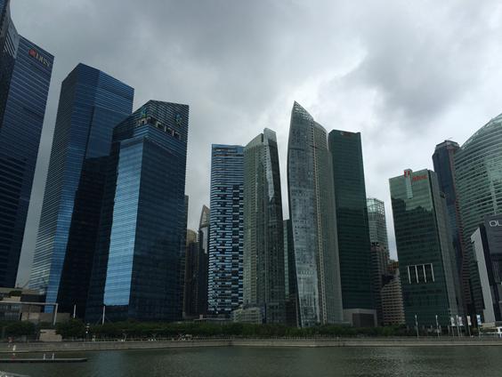 図3 地価の値上がりが続くシンガポールのビル群の様子