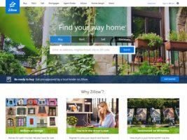 Zillowのトップ画面。アメリカで一般消費者も利用できる不動産情報サービス
